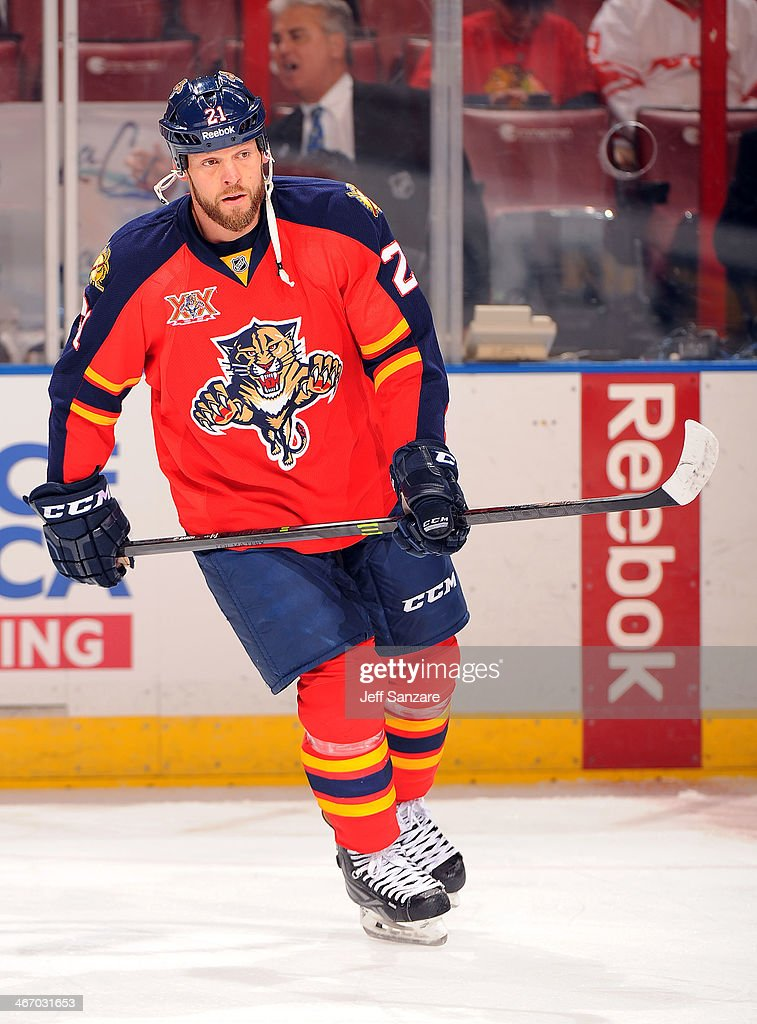 Krys Barch of the Florida Panthers skates on the ice prior to the start of the game against the Colorado Avalanche at the BBT Center on January 24th...