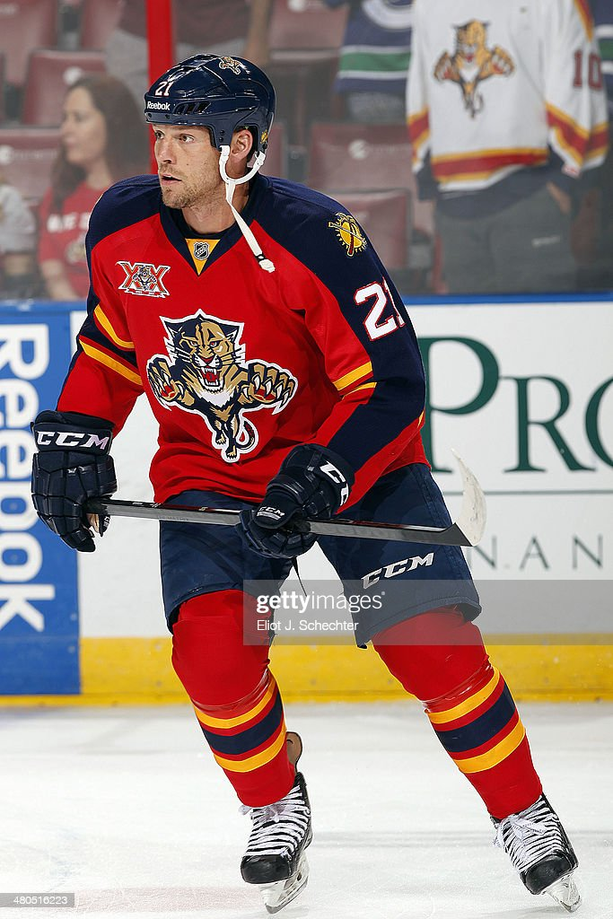 Krys Barch of the Florida Panthers skates the ice prior to the start of the game against the Vancouver Canucks at the BBT Center on March 16 2014 in...