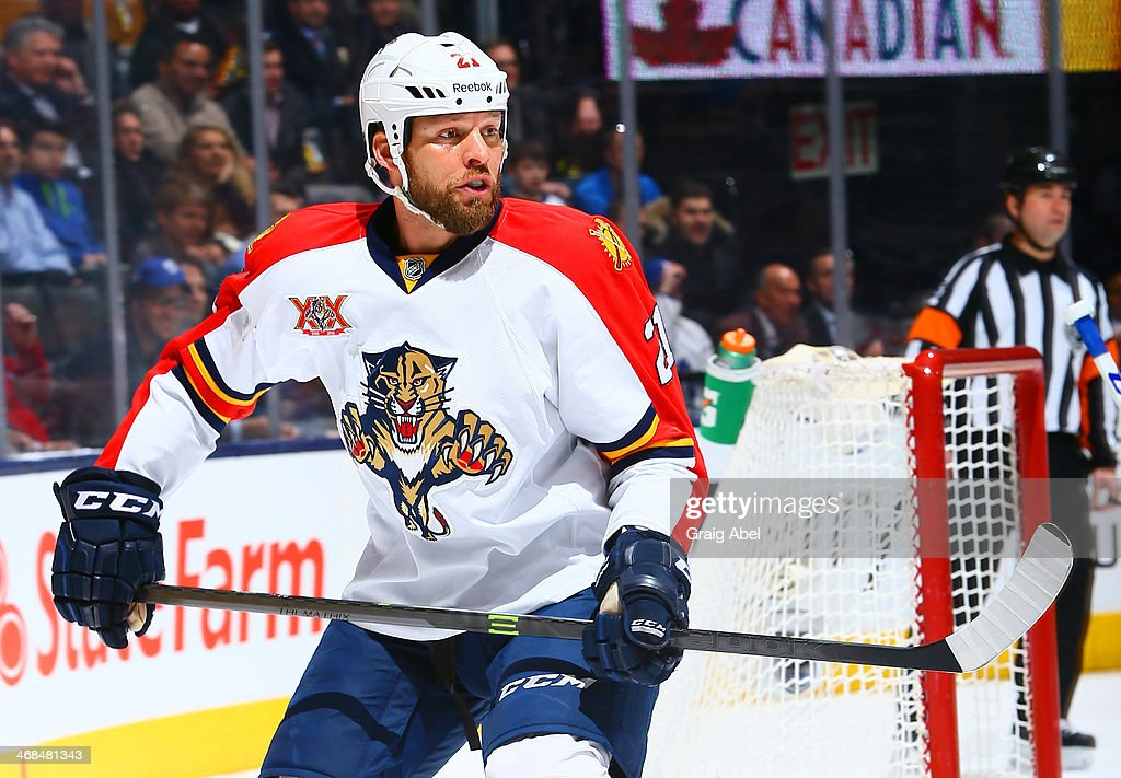 Krys Barch of the Florida Panthers skates up the ice during NHL game action against the Toronto Maple Leafs January 30 2014 at the Air Canada Centre...