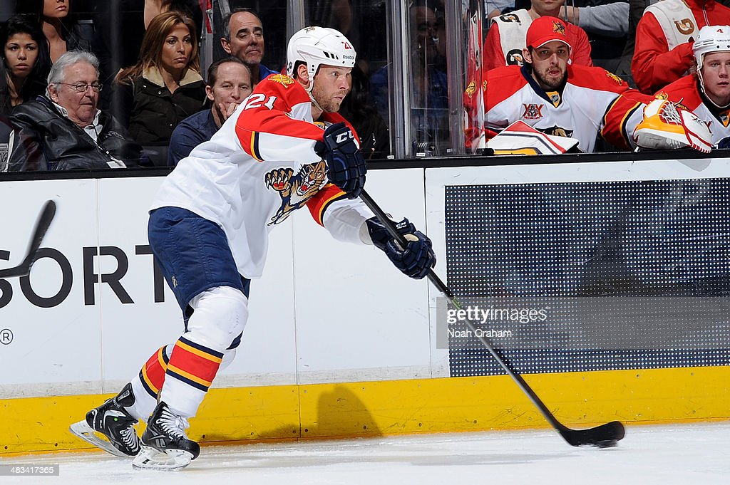 Krys Barch of the Florida Panthers skates with the puck against the Los Angeles Kings at Staples Center on March 22 2014 in Los Angeles California