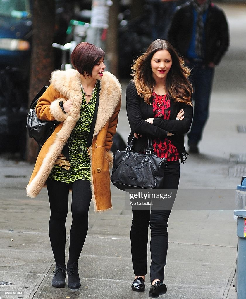 Krysta Rodriguez and Katharine McPhee are seen on the set of 'Smash' on October 9, 2012 in New York City.