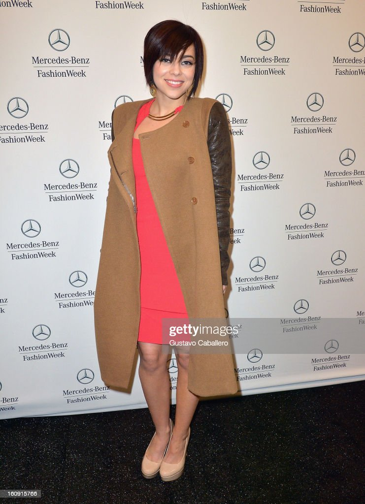 Krysta Rodriguez is seen during Fall 2013 Mercedes-Benz fashion week at Lincoln Center on February 7, 2013 in New York City.