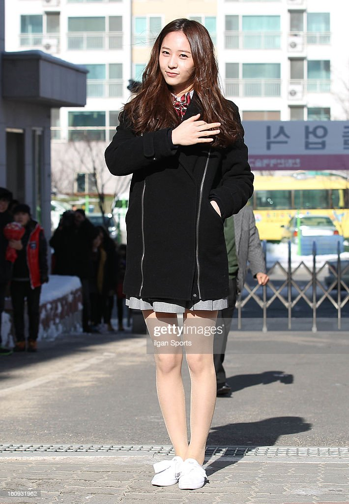 Krystal of f(x) poses during Hanlim Multi Art School Graduation on February 7, 2013 in Seoul, South Korea.