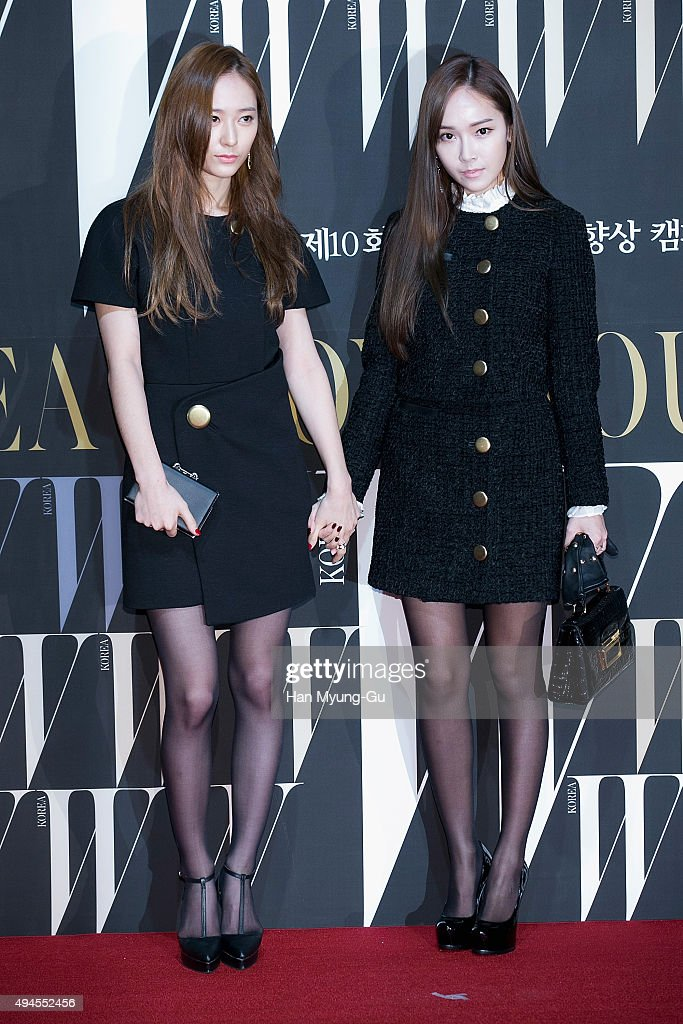 Krystal of girl group f and former member of Girl's Generation Jessica pose for photographs at the W Magazine Korea Breast Cancer Awareness Campaign...