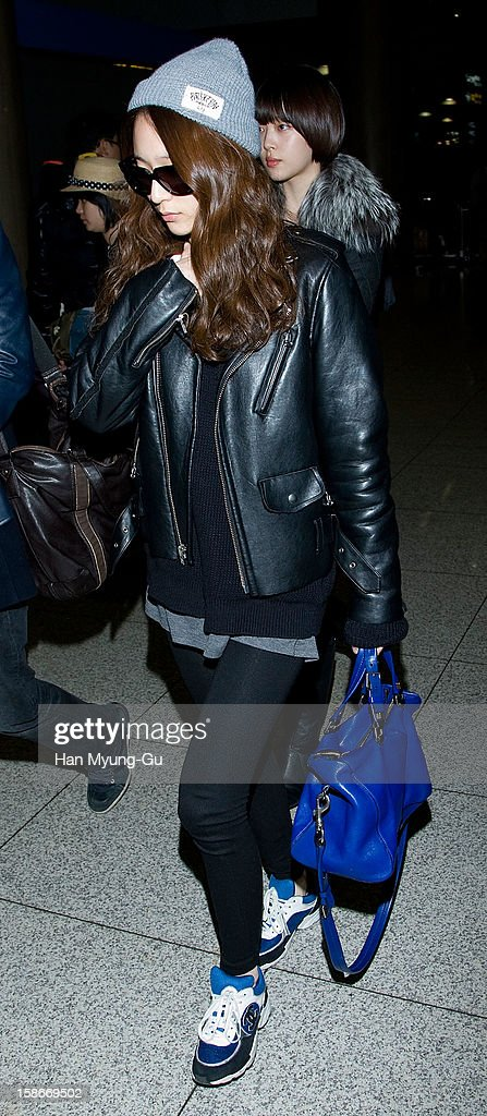 Krystal of South Korean girl group f(x) is seen at Incheon International Airport on December 23, 2012 in Incheon, South Korea.
