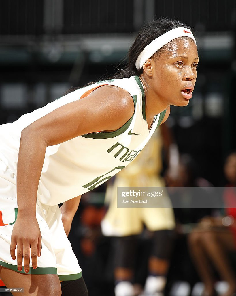 Krystal Saunders #12 of the Miami Hurricanes looks on during first half actin against the Georgia Tech Yellow Jackets on January 17, 2013 at the BankUnited Center in Coral Gables, Florida. Miami defeated Georgia Tech 71-65.