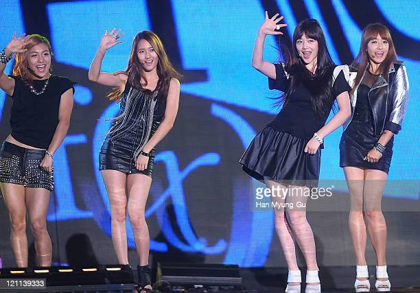 Krystal Sulli and Victoria of F perform onstage during the Incheon Korean Wave Festival 2011 at Incheon World Cup Stadium on August 13 2011 in...