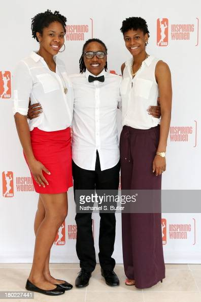 Krystal Thomas Alexis Hornbuckle and Briana Gilbreath of the Phoenix Mercury pose for a picture at the 2013 WNBA Inspiring Women's Luncheon in New...