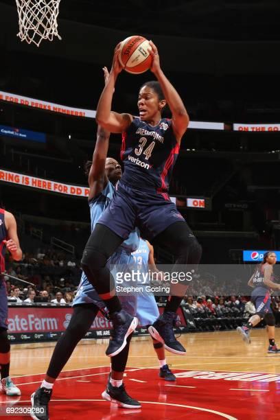 Krystal Thomas of the Washington Mystics grabs the rebound against the Atlanta Dream on June 4 2017 at Verizon Center in Washington DC NOTE TO USER...