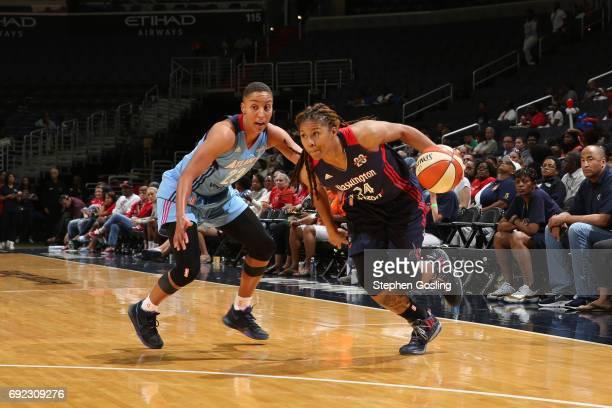 Krystal Thomas of the Washington Mystics handles the ball against the Atlanta Dream on June 4 2017 at Verizon Center in Washington DC NOTE TO USER...