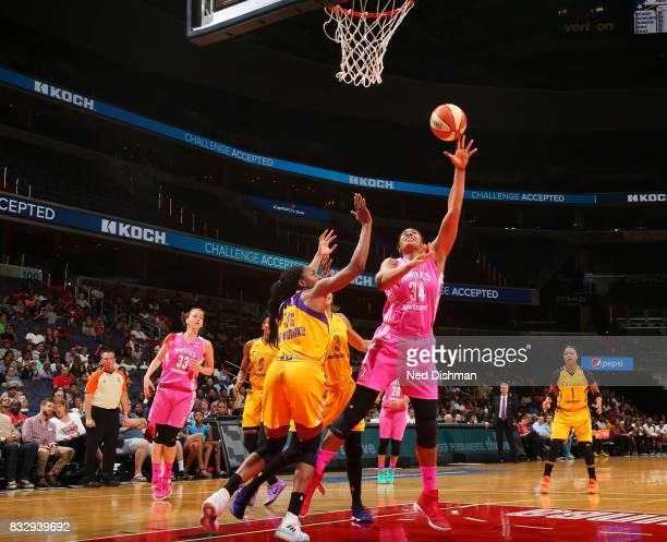 Krystal Thomas of the Washington Mystics shoots the ball against the Los Angeles Sparks on August 16 2017 at the Verizon Center in Washington DC NOTE...