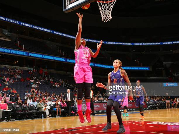 Krystal Thomas of the Washington Mystics shoots the ball against the Phoenix Mercury on August 18 2017 at the Verizon Center in Washington DC NOTE TO...