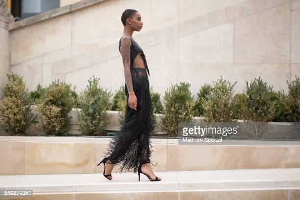 Krystal Warren is seen attending Hermes during Paris Fashion Week wearing Alani Taylor on October 2 2017 in Paris France