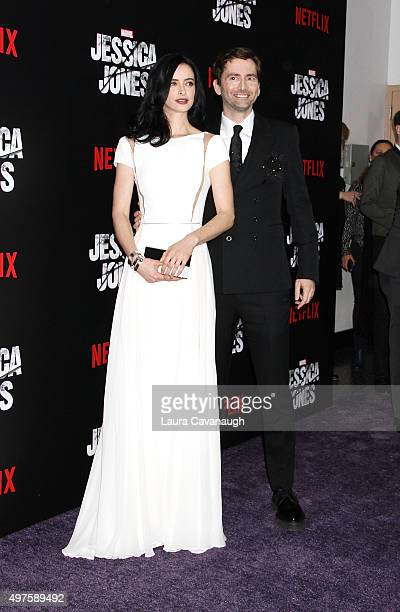Krysten Ritter and David Tennant attend the 'Jessica Jones' series premiere at Regal EWalk on November 17 2015 in New York City