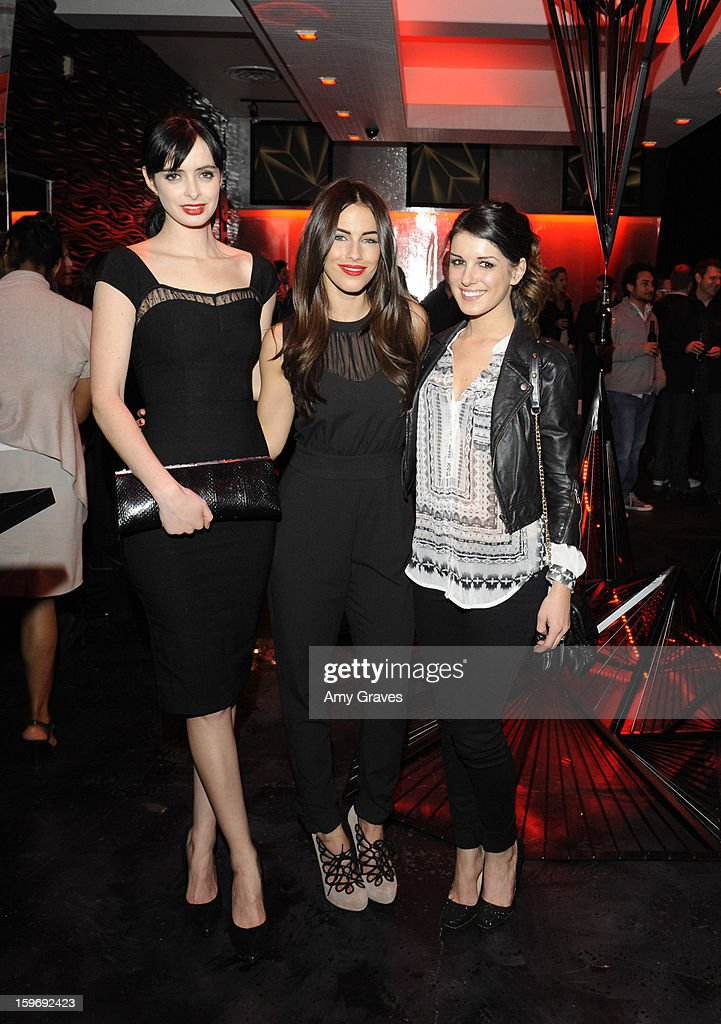 Krysten Ritter, Jessica Lowndes and Shenae Grimes attend the Beck's Sapphire Launch Event on January 17, 2013 in Beverly Hills, California.