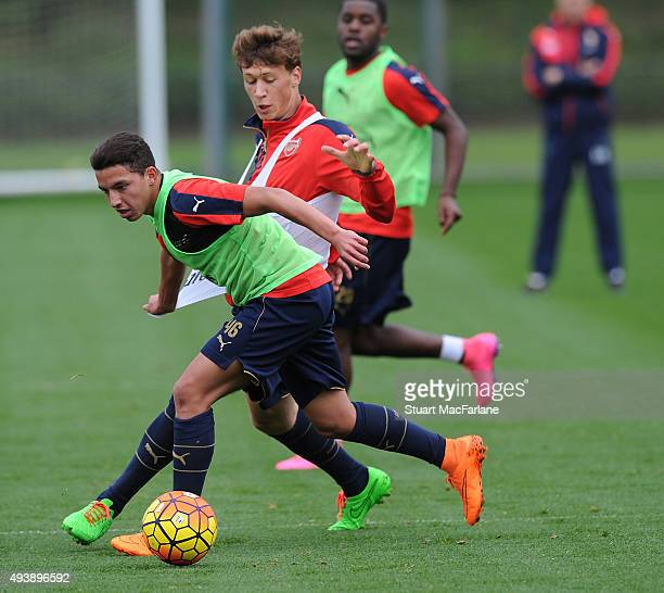 Krystian Bielik and Ismael Bennacer of Arsenal during a training session at London Colney on October 23 2015 in St Albans England
