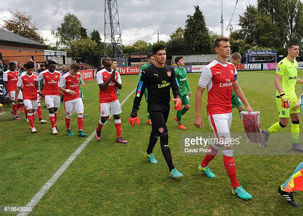Krystian Bielik and Joao Virginia of Arsenal during the match between Arsenal and Ludogorets Razgrad in the UEFA Youth League at Meadow Park on...
