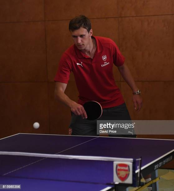 Krystian Bielik of Arsenal during a Table Tennis exhibition