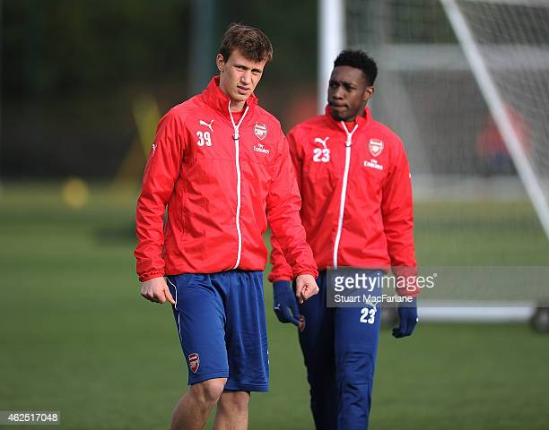 Krystian Bielik of Arsenal during a training session at London Colney on January 30 2015 in St Albans England