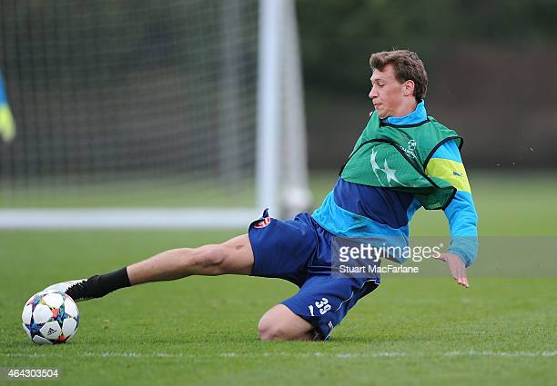 Krystian Bielik of Arsenal during a training session at London Colney on February 24 2015 in St Albans England