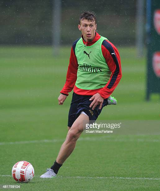 Krystian Bielik of Arsenal during a training session at London Colney on July 24 2015 in St Albans England