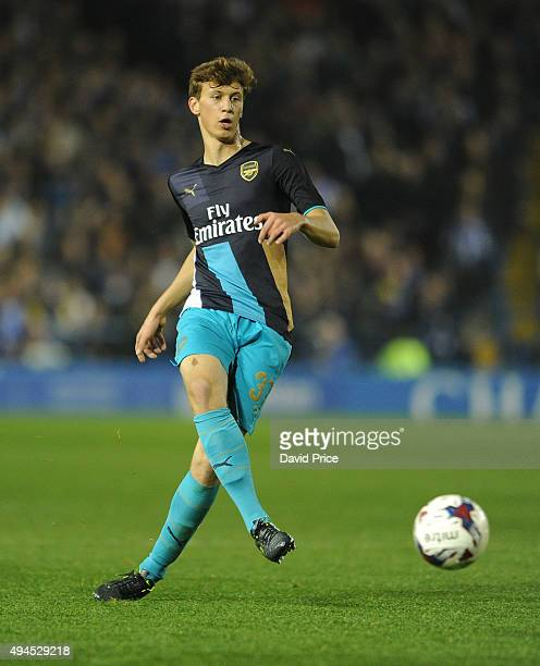 Krystian Bielik of Arsenal during the Capital One Cup 4th Round match between Sheffield Wednesday and Arsenal at Hillsborough Stadium on October 27...