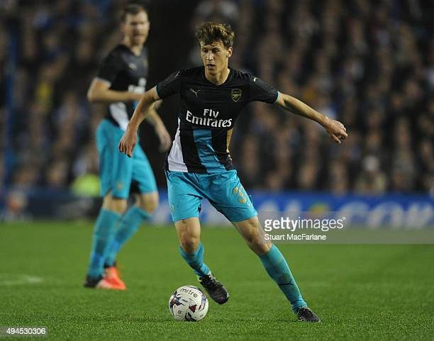 Krystian Bielik of Arsenal during the Capital One Cup Fourth Round match between Sheffield Wednesday and Arsenal at Hillsborough Stadium on October...