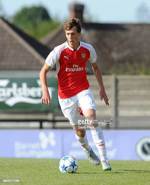 Krystian Bielik of Arsenal during the match between Arsenal and Olympiacos in the UEFA Youth League on September 29 2015 in Borehamwood United Kingdom