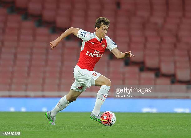 Krystian Bielik of Arsenal during the match between Arsenal U21 and West Ham United U21 at Emirates Stadium on August 28 2015 in London England