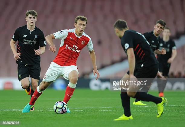 Krystian Bielik of Arsenal during the match between Arsenal U23 and Liverpool U23 at Emirates Stadium on August 26 2016 in London England