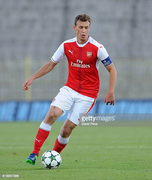 Krystian Bielik of Arsenal during the match between PFC Ludogorets Ragrad and Arsenal in the UEFA Youth League at Georgi Asparuhov Stadium on...