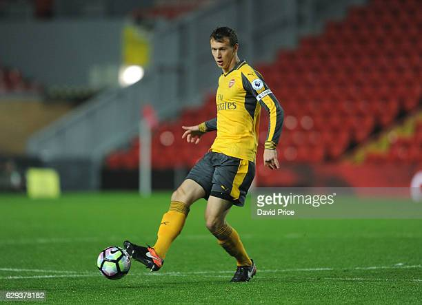 Krystian Bielik of Arsenal during the Premier League match between Arsenal and Stoke City at Anfield on December 12 2016 in Liverpool England