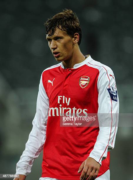 Krystian Bielik of Arsenal during the U21 Premier league match between Newcastle United and Arsenal at StJames Park on September 11 in Newcastle upon...
