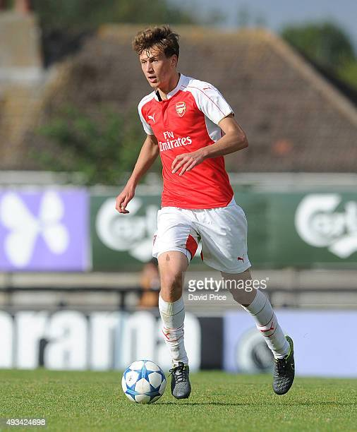 Krystian Bielik of Arsenal during the UEFA Youth League match between Arsenal U19 and Bayren Munich U19 at Meadow Park on October 20 2015 in...