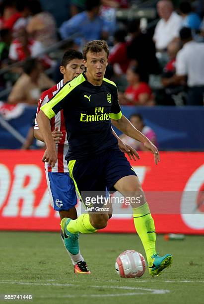Krystian Bielik of Arsenal in action against Chivas de Guadalajara at StubHub Center on July 31 2016 in Carson California