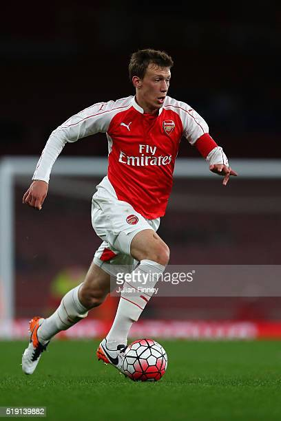 Krystian Bielik of Arsenal in action during the FA Youth Cup semifinal second leg match between Arsenal and Manchester City at Emirates Stadium on...