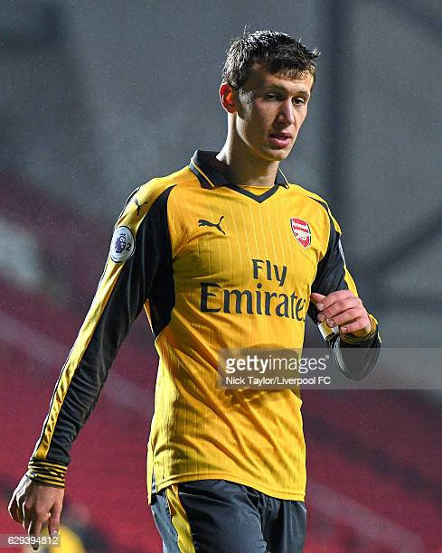 Krystian Bielik of Arsenal in action during the Premier League 2 match between Liverpool and Arsenal at Anfield on December 12 2016 in Liverpool...