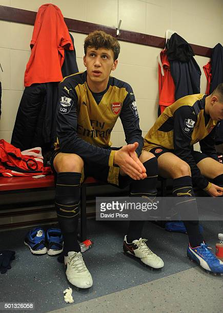 Krystian Bielik of Arsenal in the changingroom before match between West Ham United U21 and Arsenal U21 at Boleyn Ground on December 14 2015 in...