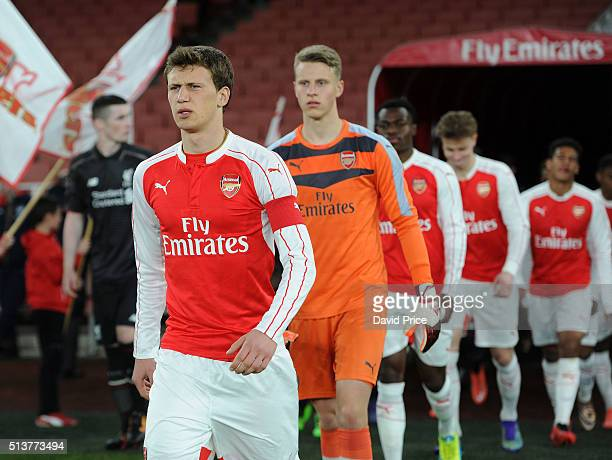 Krystian Bielik of Arsenal leads the team out before the match between Arsenal U18 and Liverpool U18 in the FA Youth Cup 6th round at Emirates...