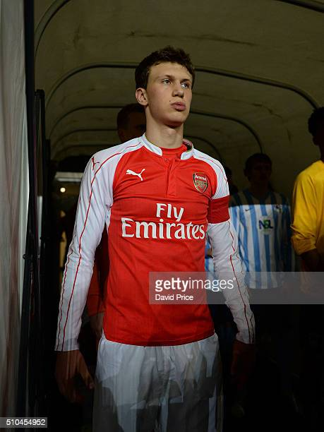 Krystian Bielik of Arsenal prepares to lead the team out before the match between Coventry City v Arsenal in the FA Youth Cup at Ricoh Arena on...
