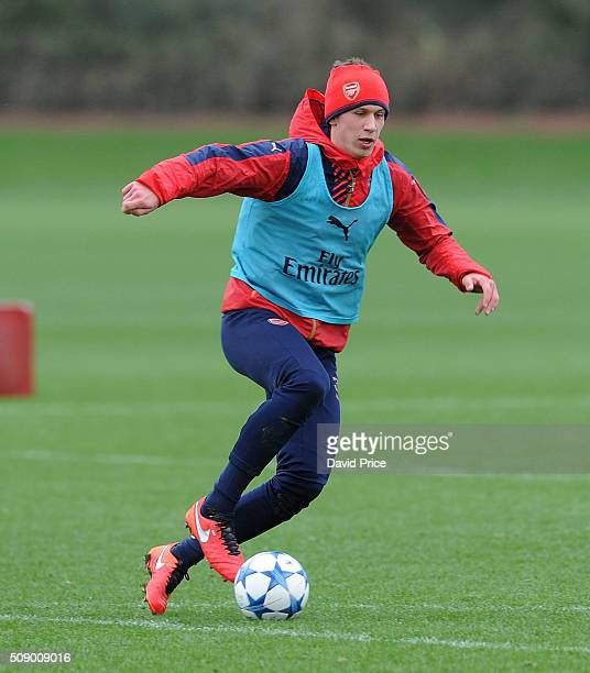 Krystian Bielik of Arsenal the U19 team during their training session at London Colney on February 8 2016 in St Albans England