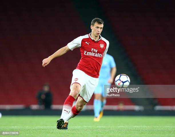 Krystian Bielik of Arsenal U23s during Premier League 2 match between Arsenal Under 23s against Manchester City Under 23s at Emirates Stadium London...