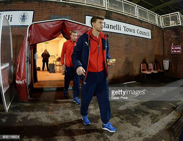 Krystian Bielik of Arsenal walks out to check the pitch before the match between Swansea U18 and Arsenal U18 at Stebonheath Park on January 15 2016...