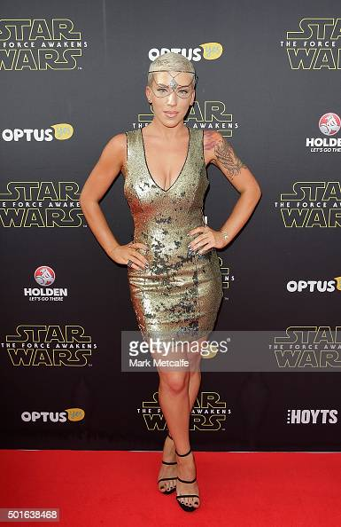 Krystie Steve arrives ahead of the 'Star Wars The Force Awakens' Australian premiere on December 16 2015 in Sydney Australia