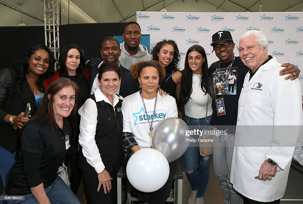 Krystle McCoy, Tani Austin, Jack Brewer, NFL player <a gi-track='captionPersonalityLinkClicked' href=/galleries/search?phrase=Carlos+Dunlap&family=editorial&specificpeople=4489431 ng-click='$event.stopPropagation()'>Carlos Dunlap</a> of the Cincinnati Bengals, <a gi-track='captionPersonalityLinkClicked' href=/galleries/search?phrase=Ted+Ginn+Jr.&family=editorial&specificpeople=2106730 ng-click='$event.stopPropagation()'>Ted Ginn Jr.</a> of the Carolina Panthers, Dr. Bill Austin and guests attend the Starkey Hearing Foundation hearing mission during Super Bowl weekend 2016 at San Francisco State University on February 6, 2016 in San Francisco, California.