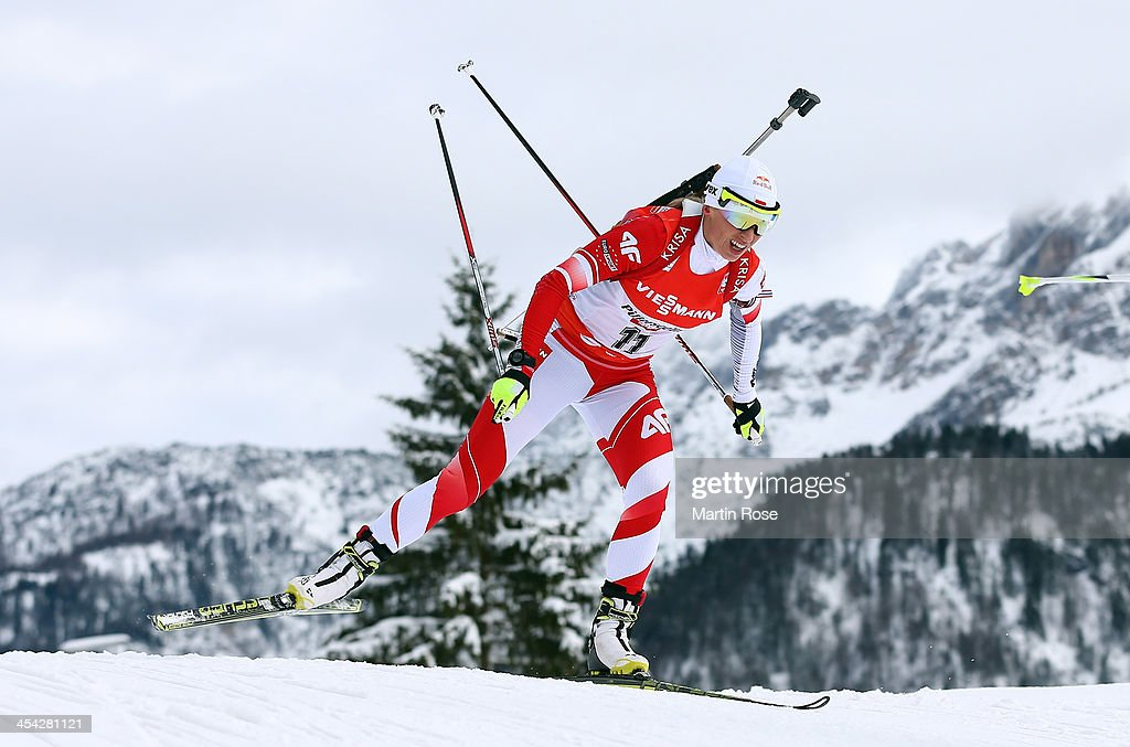 Krystyna Palka of poland competes in the women's 10km pursuit event during the IBU Biathlon World Cup on December 8, 2013 in Hochfilzen, Austria.