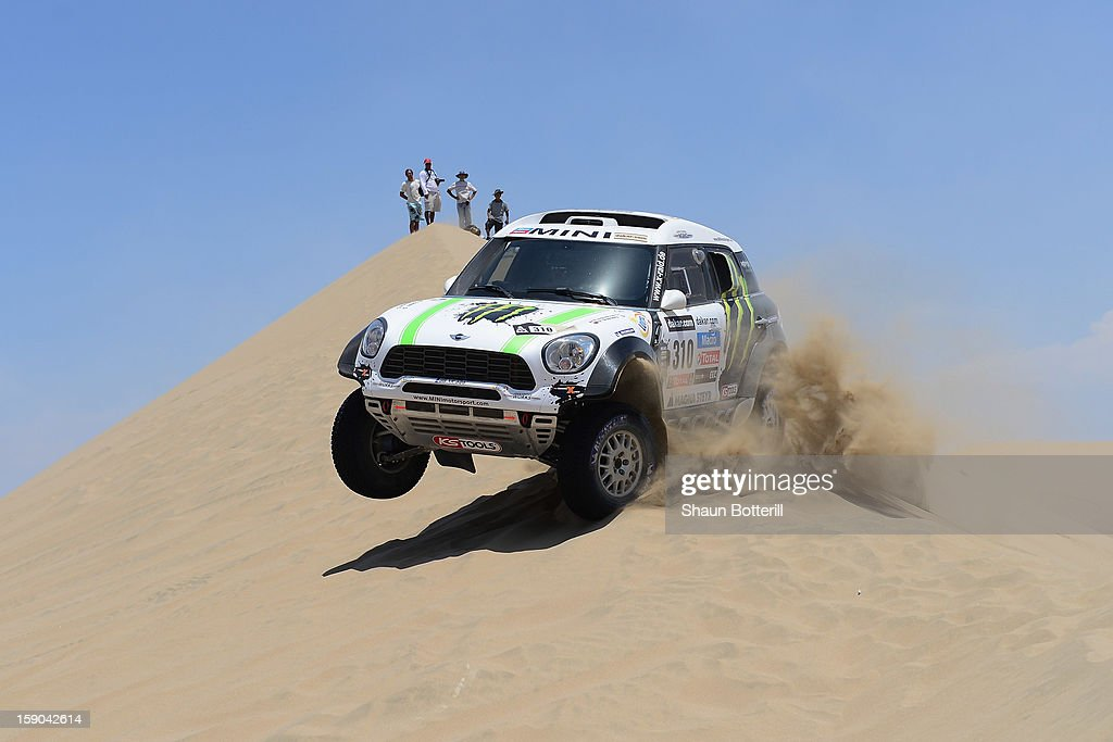 Krysztof Holowczyc and co-pilot Filipe Palmeiro of team Mini compete during the stage from Pisco to Pisco on day two of the 2013 Dakar Rally on January 6, 2013 in Pisco, Peru.
