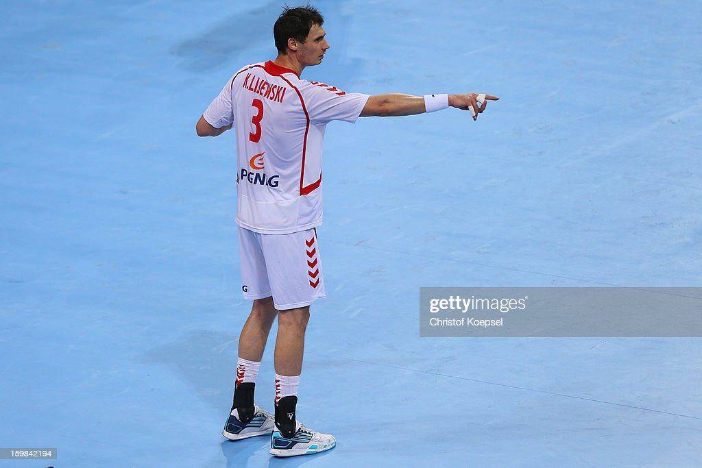 Krzystof Lijewski of Poland issues instructions during the round of sixteen match between Hungary and Poland at Palau Sant Jordi on January 21 2013...