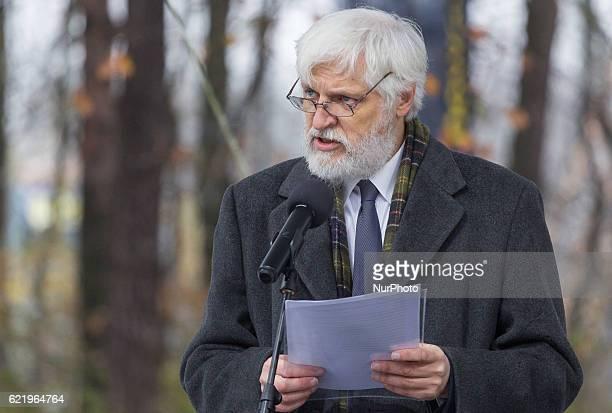 Krzysztof Jaraczewski during the Foundation Stone Laying Ceremony forJozef Pilsudski museum inSulejowek Poland on 9 November 2016