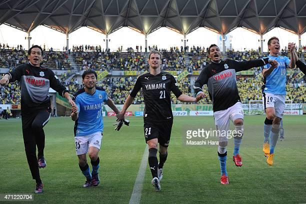 Krzysztof Kaminski of Jubilo Iwata celebrates the win with teammates Masahiko InohaJay Bothroyd and Nagisa Sakurauchi after the JLeague second...